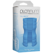 Doc Johnson Platinum The Tru Stroke Ribbed - Blue - A completely flexible masturbation sleeve that allows you to hold it loose or squeeze it tight.