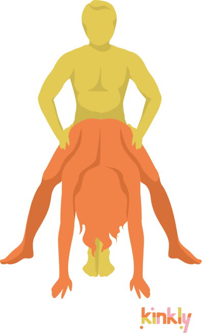 diagram of the crouching tiger sex position - the receiving partner stands with their legs spread apart and bends at the wais and is penetrated from behind