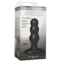 Doc Johnson Platinum The Tru Plug Ripple - Black - A rippled butt plug made to feel like real skin.