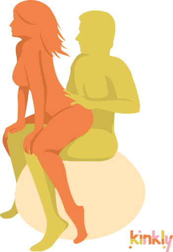 Swiss Ball Blitz Position. The penetrating partner sits on top of an inflatable fitness ball. The receiving partner lowers themselves onto their partner's lap and uses the penetrating partner's knees for stability.