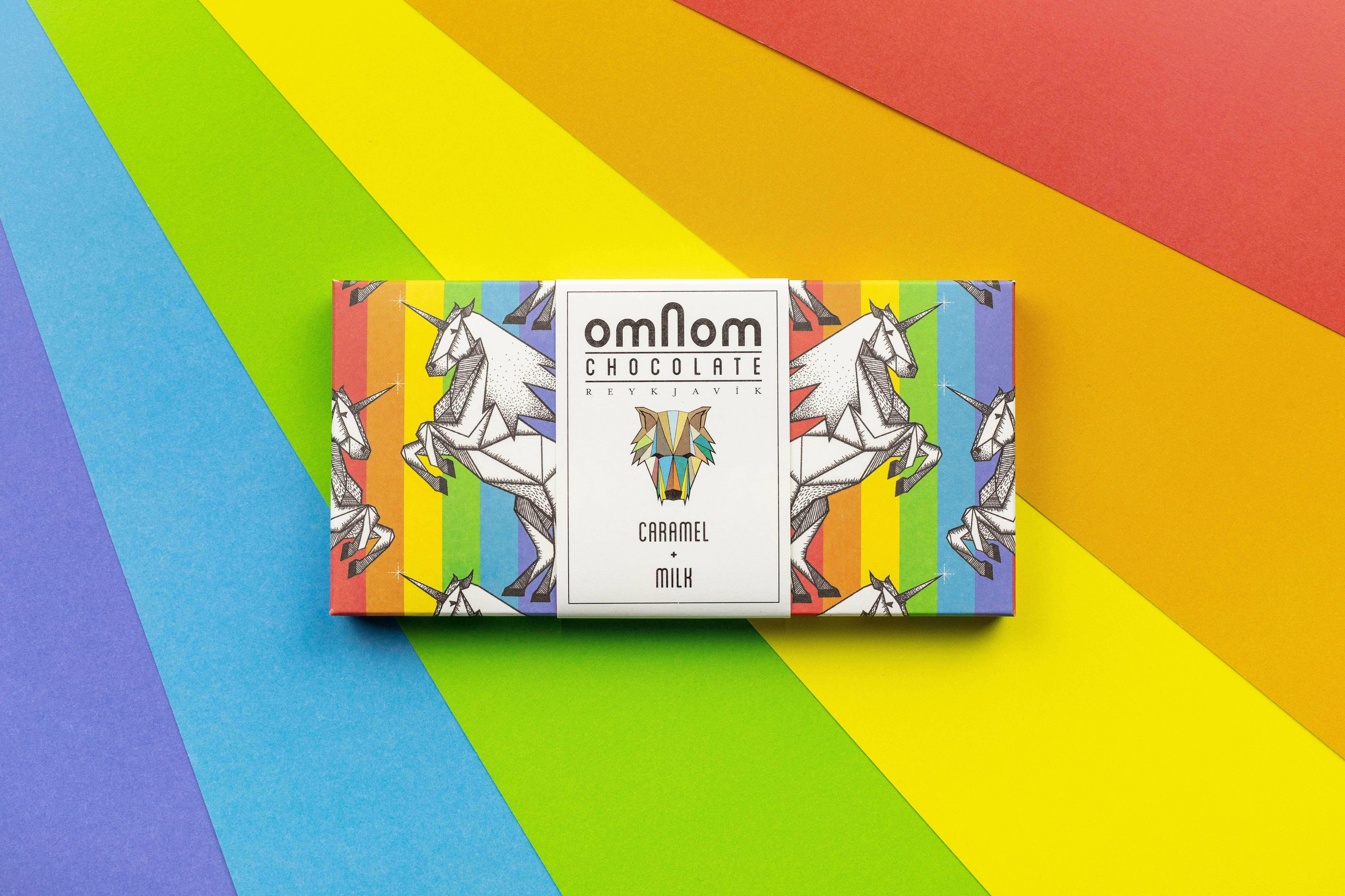Omnom Caramel + Milk Pride Bar chocolate candy bar with rainbows and unicorns