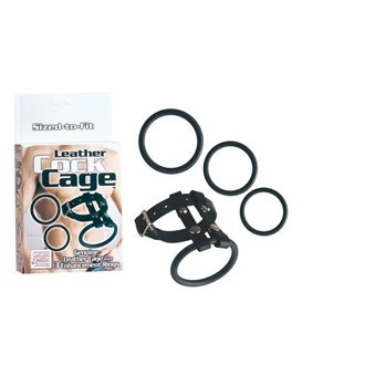 California Exotic Leather Cock Cage - Leather erection enhancer.