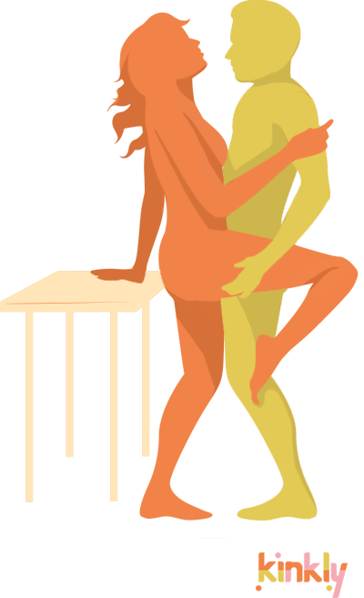 diagram of the dancer sex position - both partners stand and the giver supports the receiver's bent leg