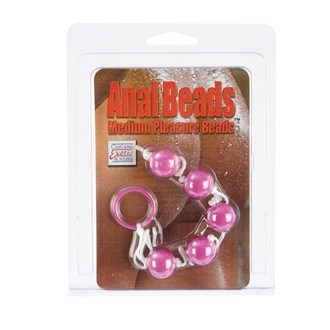 California Exotic Anal Beads - Medium - Simple ABS plastic anal beads with a nylon cord.