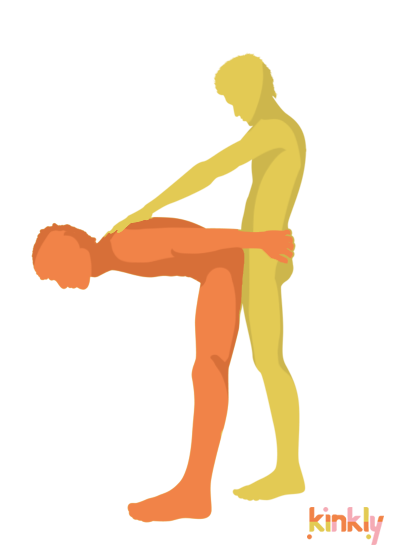 Open Pike Position: The penetrating partner is standing straight up. The receiving partner is bent at 90 degrees in front of the penetrating partner while the penetrating partner takes them from behind.