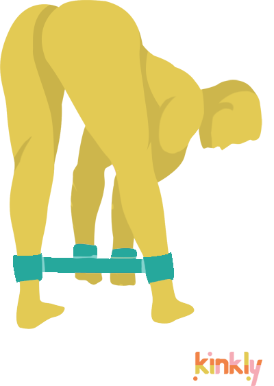 Bent Over Bondage Position. Person standing, bent over with wrists bound to ankles.