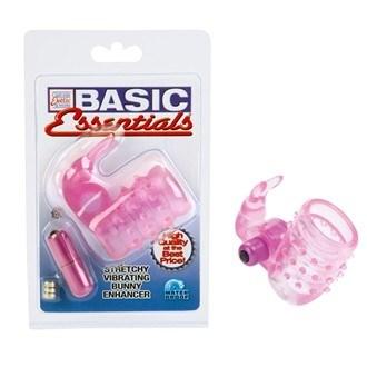 California Exotic Basic Essentials Stretchy Vibrating Bunny Enhancer - Erection enhancement ring.