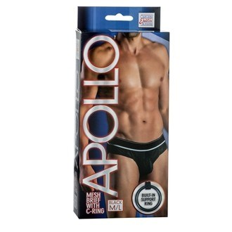 California Exotic Apollo Mesh Brief with C-Ring - M/L - Mens sensual attire.