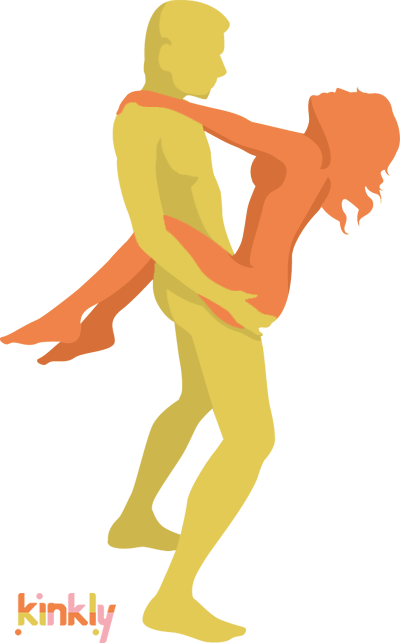 diagram of the ascent to desire sex position - the giver holds the receiver up as they wrap their legs around the standing giver's waist.