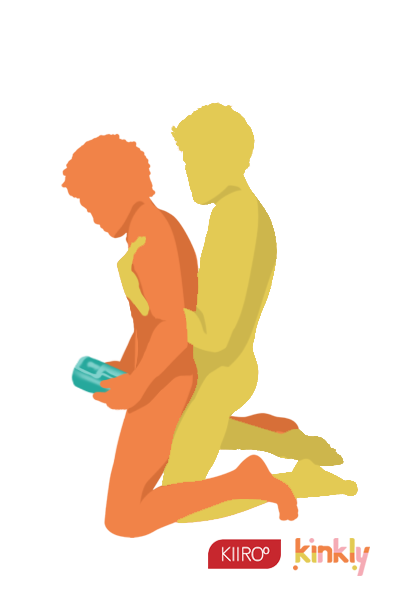 Hooked In Sex Position. Both partners are kneeling with the penetrating partner behind the receiving partner. The penetrating partner wraps their arms under the receiver's armpits to pull them in for deeper penetration during sex.