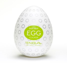 TENGA EGG CLICKER - A soft, pliable male pleasure sleeve that is uniquely packaged in an egg.
