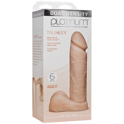 Doc Johnson Platinum The Tru Ride 6 inch - Vanilla - This realistic dildo has a firm silicone core.