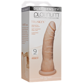 "Doc Johnson Platinum The Tru Ride SLIM 9 inch - Vanilla - This 9"" realistic dildo has a firm silicone core with a tapered phallic tip."
