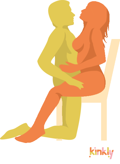 TV Dinner Position. The receiving partner sits at the very back of a dining chair with their legs spread apart. The penetrating partner straddles the dining chair and snuggles in close to penetrate their partner.