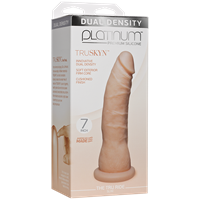 "Doc Johnson Platinum The Tru Ride SLIM 7 inch - Vanilla - This 7"" realistic dildo has a firm silicone core with a tapered phallic tip."
