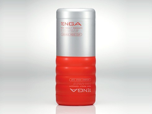 TENGA DOUBLE HOLE CUP - A male masturbator with two usable ends, one gentle and one firm.