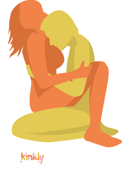 Kneel and Sit Position. The penetrating partner sits down. The receiving partner sits on top of the penetrating partner's lap.