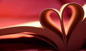 Book pages form a heart