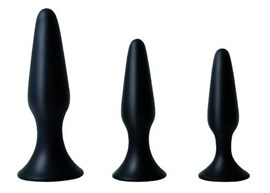 Adam and Eve Silicone Booty Boot Camp Training - A set of three graduated anal toys with tapered tips
