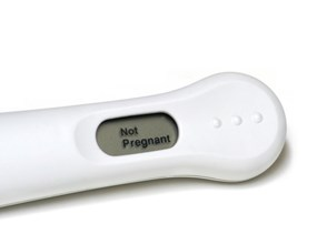 Pregnancy test showing not pregnant