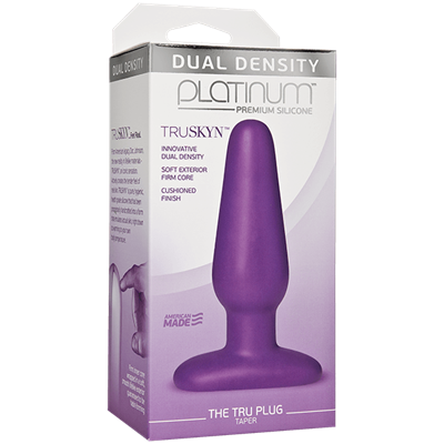 Doc Johnson Platinum The Tru Plug Taper - Purple - A tapered butt plug for easy entry, made to feel like real skin.