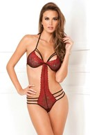 Rene Rofe Strappy Lace Teddy - Black - Small/Medium - A nylon teddy designed to highlight your curves