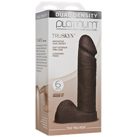 "Doc Johnson Platinum The Tru Ride 6 inch - Chocolate - This 6"" realistic dildo has a firm silicone core."