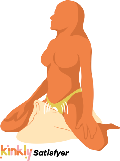 Horseless Rider Sex Position. A person wearing a pair of panties is straddling a scrunched up pillow. A vibrator inside of their panties is vibrating while they grind against the pillow.