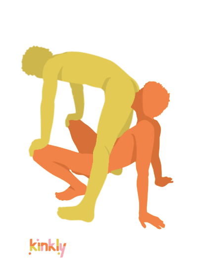 Canadian Bacon Air Position: The rimming receiver is standing but bent over at the waist. The rimming giver is face up, holding themselves up with their arms and legs. The receiving partner steadies themselves on the giving partner's bent knees.