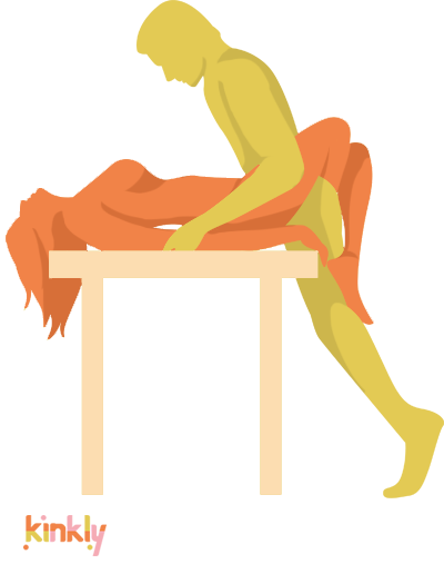 Desk Domination Position. The receiving partner lays down flat on a desk with their hips at the edge of the desk. The penetrating partner stands between the receiving partner's thighs and pushes inside.