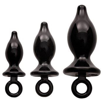Adam and Eve Anal Trainer Kit - Black - A set of anal plugs in varying sizes