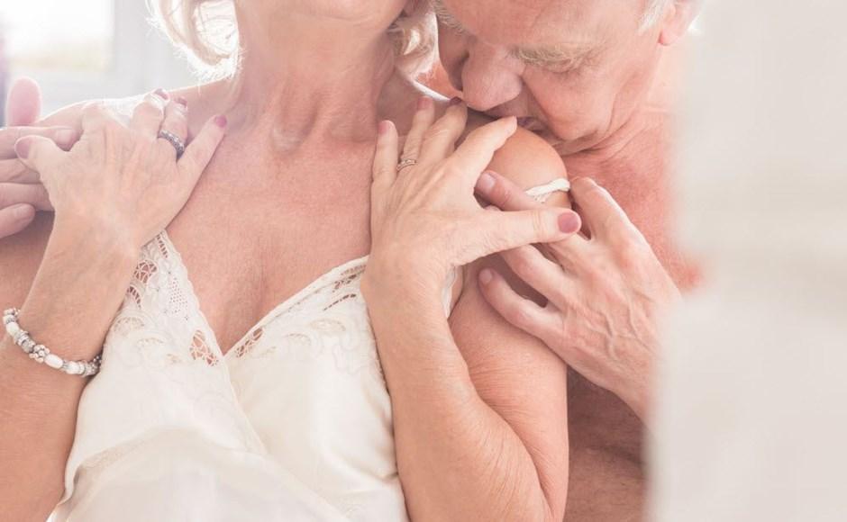 Seniors in intimate moment