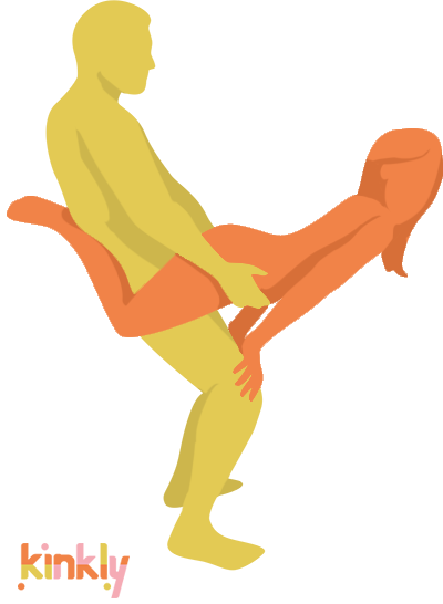 Superman Sex Position. The penetrating partner is standing while holding the receiving partner with their upper arm strength. The receiving partner is 90-degrees from the penetrating partner.