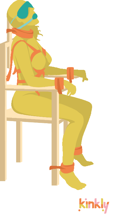 Chair Bondage Sex Position: Person sitting in a chair is bound by ankles, wrist and throat and is wearing a blinfold and gag