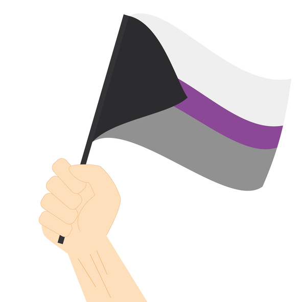 Hand holding and raising Demisexual pride flag isolated on white backgroun
