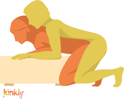 Magic Mountain Position. The receiving partner leans forward onto a stack of pillows (or, as pictured, a foot rest). The penetrating partner wraps their body around the receiving partner for full skin-on-skin contact during intercourse.