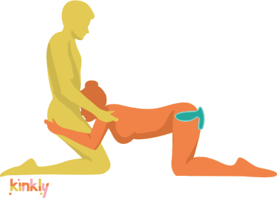 Ditto sex position. Couples are kneeling. One is giving the other fellatio and is also wearing an anal plug.