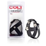 California Exotic COLT Leather H-Piece Divider Strap - Erection enhancement and ball separator.