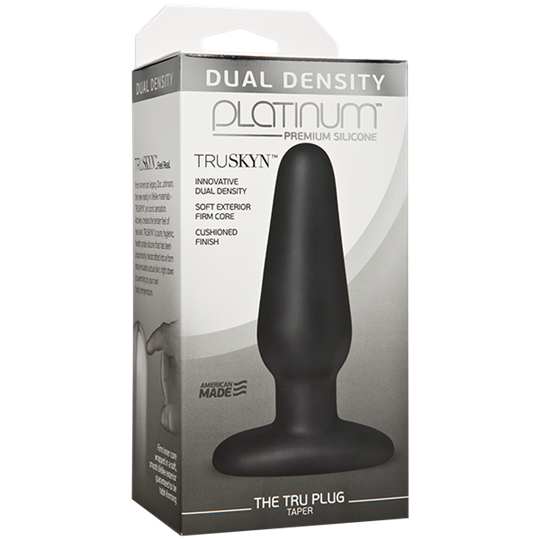 Doc Johnson Platinum The Tru Plug Taper - Black - A tapered butt plug for easy entry, made to feel like real skin.