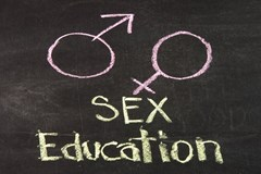 Sex education written on chalkboard