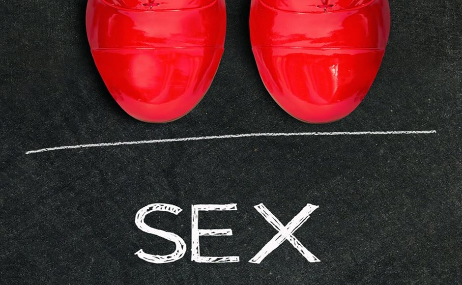 Shoes a line the word sex