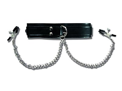 Sportsheets Collar with Nipple Clamps - A PVC collar connected via chains to two firm nipple clamps for sexy hands-free bliss.