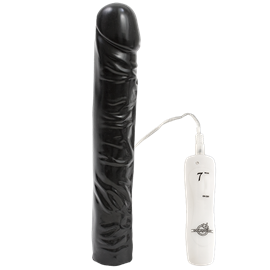 Doc Johnson 7 Function - 10 Inches Classic Dong - Black - A black penis-shaped vibrator with 7 functions