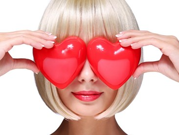 Woman with hearts over eyes