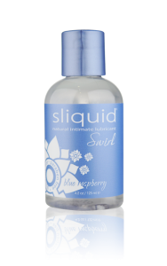 Sliquid Swirl Blue Raspberry - A blue raspberry flavored, water-based lubricant that is glycerin and paraben-free.