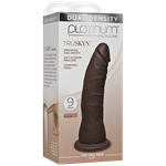 "Doc Johnson Platinum The Tru Ride SLIM 9 inch - Chocolate - This 9"" realistic dildo has a firm silicone core with a tapered phallic tip."