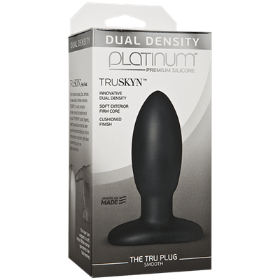 Doc Johnson Platinum The Tru Plug Smooth - Black - A smooth butt plug made to feel like real skin.