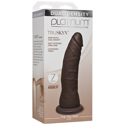 "Doc Johnson Platinum The Tru Ride SLIM 7 inch - Chocolate - This 7"" realistic dildo has a firm silicone core with a tapered phallic tip."