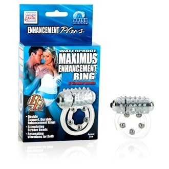 California Exotic Waterproof Maximus  Enhancement Ring - 5 Stroker Beads - Vibrating erection enhancement ring.
