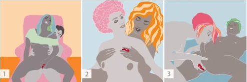 illustrations of how to use the Fun Factory Be.One vibrator